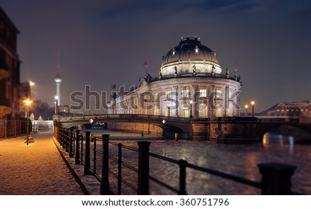 Bode museum Berlin with frozen spree river - stock photo