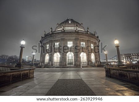 Bode Museum in Museum Island (Museumsinsel) in Berlin Mitte at night, Germany, Europe - stock photo