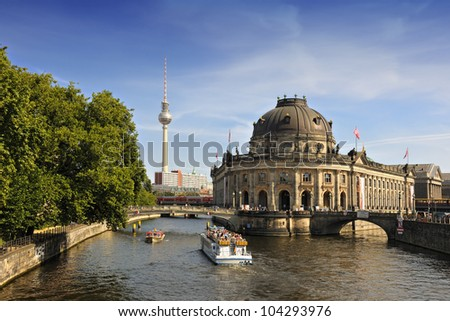 Bode Museum on Museum Island with TV Tower in background, Berlin, Germany, Europe - stock photo