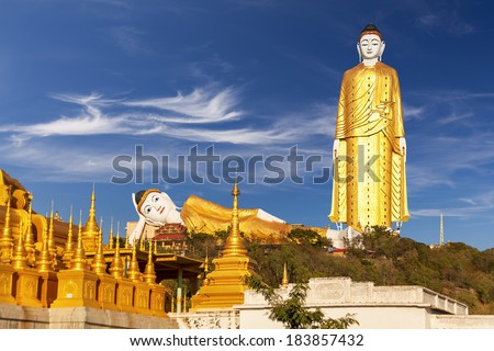 Bodhi Tataung Standing Buddha  is the second tallest statue in the world. Monywa, Myanmar. Canon 5D Mk II. - stock photo