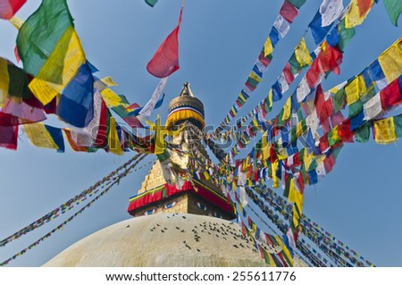 Bodhnath (Boudhanath) Stupa with Brightly Colored Prayer Flags, hoisted at Losar (Tibetan New Year), Kathmandu, Nepal. Below the Eyes of Buddha pigeons rest on the dome.