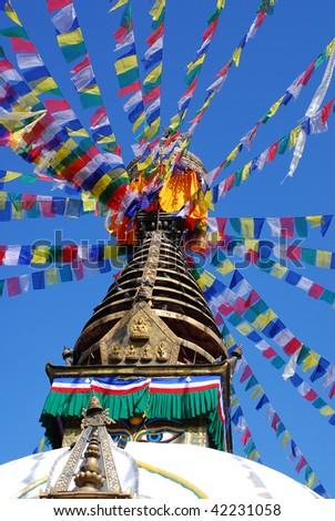 bodhnath stuba in kathmandu nepal - stock photo
