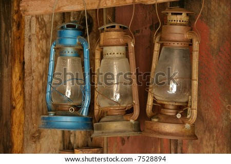 Bodie Ghost Town lanterns - stock photo