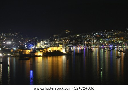 Bodrum at night. Bodrum bay and historical castle - stock photo