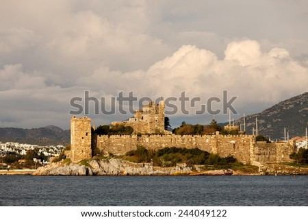 Bodrum Castle  with dramatic clouds  - stock photo
