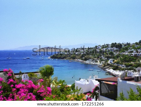 Bodrum Houses oil painting from famous city Bodrum - stock photo
