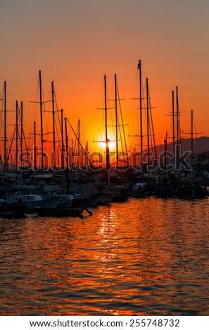 bodrum marina at sunset - stock photo