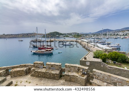 Bodrum Marina view from Bodrum Castle, Turkey - stock photo