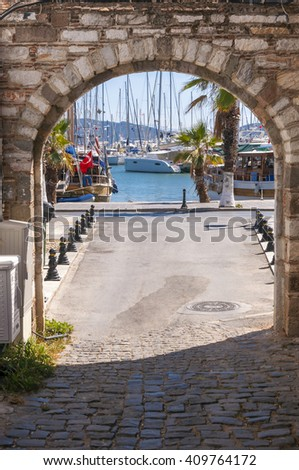 Bodrum, Turkey - April 21, 2016: View from the coast town of Bodrum, whitewashed architecture in Turkey's popular summer resort town located by the Aegean sea, Turkish Riviera on April 21, 2016. - stock photo
