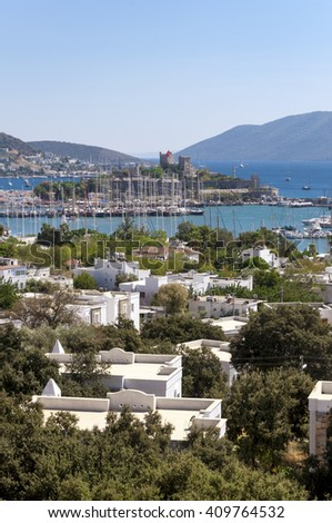 Bodrum, Turkey - April 21, 2016: View from the coast town of Bodrum, whitewashed architecture in Turkey's popular summer resort town located by the Aegean sea, Turkish Riviera on April 21, 2016.