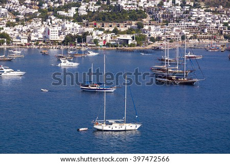 Bodrum, Turkey - June 27, 2015: View from Bodrum coast. Bodrum is one of the most popular summer destinations on Turkey, located by the Aegean Sea, Turkish Riviera. - stock photo