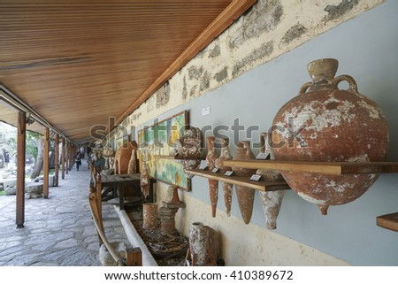BODRUM, TURKEY - MARCH 20, 2016; Permanent exhibition in Museum of Bodrum Castle in Turkey. - stock photo
