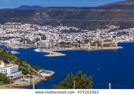 Bodrum, Turkey - May 10, 2016 - View of Bodrum town located on the Aegean coastline of Turkey, famous for summer attractions, windmills and nightlife. Turkish Riviera on May 10, 2016. - stock photo