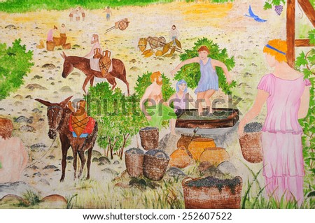 BODRUM, TURKEY - SEPTEMBER 30, 2014: Old painting on the wall of the Bodrum castle in Turkey - stock photo