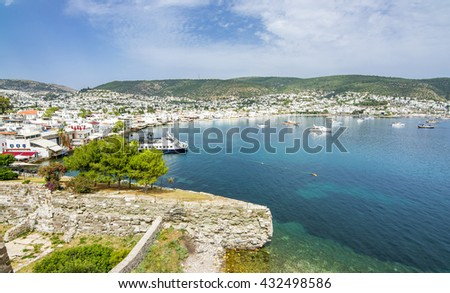 Bodrum view from Bodrum Castle, Turkey - stock photo