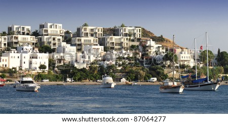 Bodrum with ships - Bodrum - Turkey - stock photo