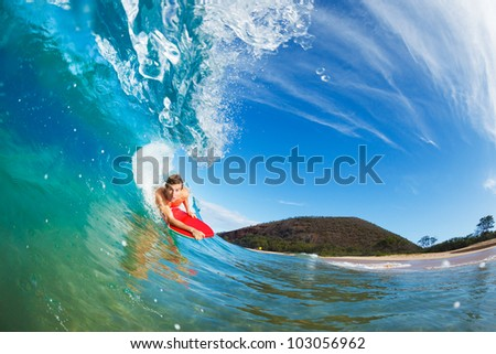 Body Boarder Surfing Blue Ocean Wave