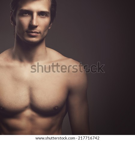 Body, bodybuilder. Handsome, attractive man with perfect body - stock photo