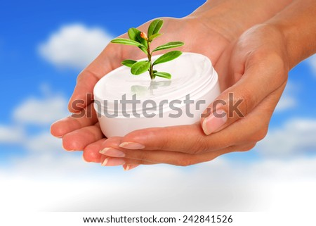 Body care concept. Hands with cream. - stock photo