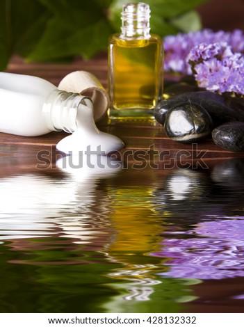 body cream in the spa - stock photo