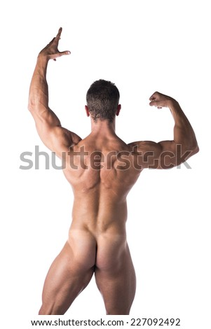 Body Fit Naked Man Strike a Pose Facing Back Isolated on White Background. - stock photo