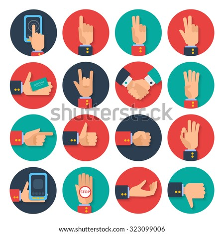 Body language hand gestures icons  tablet apps set for business card sharing symbols flat abstract  illustration