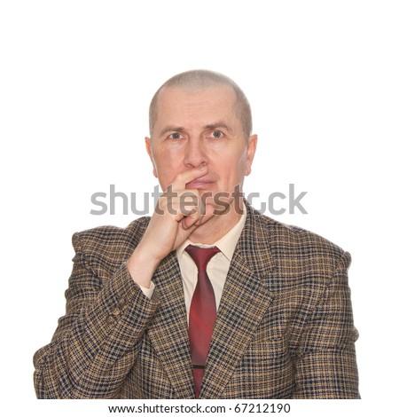 Body language. Lying sign. Isolated on white. - stock photo