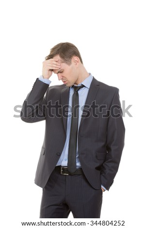 body language. man in business suit isolated on white background. Cotton forehead. recognition errors