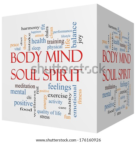 Body Mind Soul Spirit 3D cube Word Cloud Concept with great terms such as harmony, life, sleep, fit and more. - stock photo
