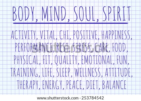 Body mind soul spirit word cloud written on a piece of paper - stock photo