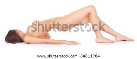 body naked woman on a white background - stock photo