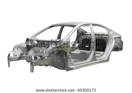 body of a car under the white background - stock photo