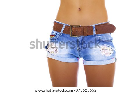 Body part sexy blue shorts, isolated on white background - stock photo