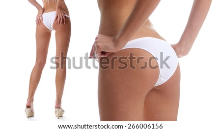 Body part sexy female ass, isolated on white - stock photo