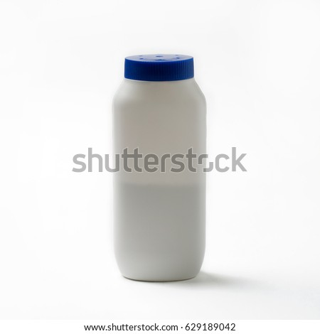 Body powder bottle on white background.