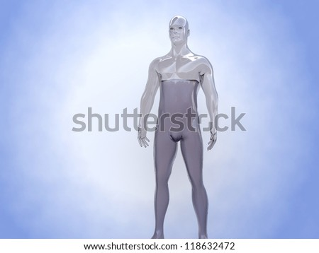 Body water: an adult human has a water content of 70 % - stock photo