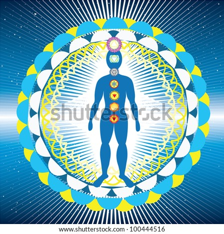 Body with chakras and yantra - stock photo