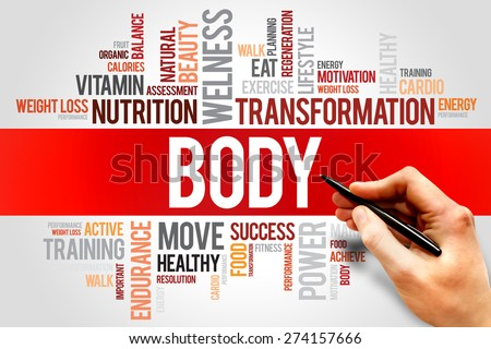BODY word cloud, fitness, sport, health concept - stock photo