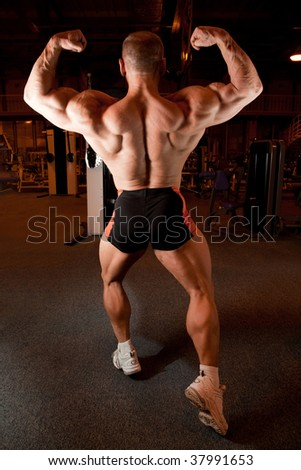 bodybuilder back demonstrates his muscles - stock photo