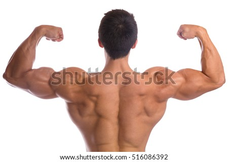 Bodybuilder bodybuilding flexing muscles posing back biceps strong muscular young man isolated on a white background