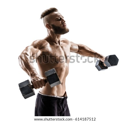 Bodybuilder exercising with dumbbells. Topless young man working out with heavy dumbbells on white background. Side view