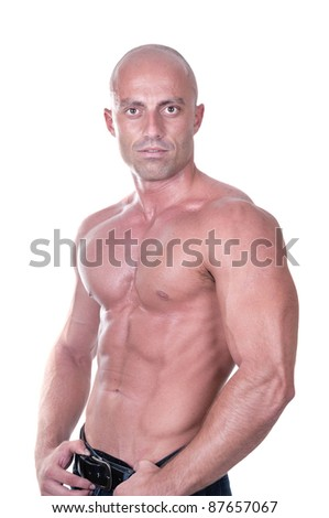 bodybuilder on white background - stock photo
