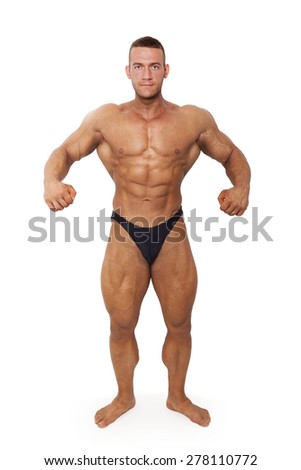 Bodybuilder posing. Huge muscular bodybuilder showing biceps isolated on white background. Sports and fitness. - stock photo