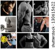 Bodybuilder posing on the black background. Collage - stock photo