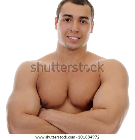 Bodybuilder showing his muscles. Isolated on a white background - stock photo