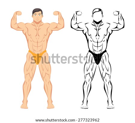 Bodybuilder. Sport and fitness, muscle body, bodybuilding healthy, sketch and colored drawing - stock photo
