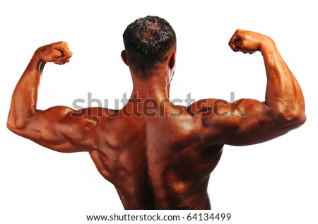 Bodybuilder strong as a rock, back, isolated