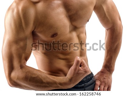 Bodybuilder topless, flexing his muscles. Strong man with perfect abs, shoulders,biceps, triceps and chest. Isolated on white background  - stock photo