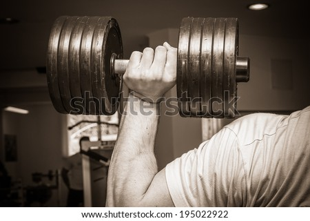 bodybuilder training - stock photo