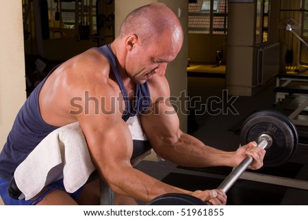 bodybuilder training his bicep - stock photo